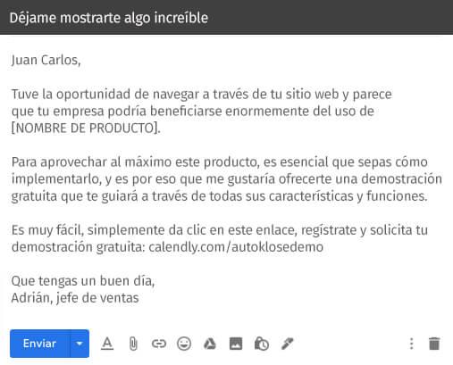 ejemplo de correo electrónico